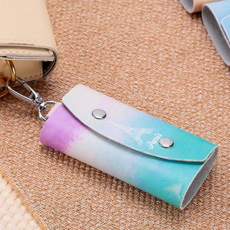 Men Women PU Leather Key Chain Accessory Pouch Bag Wallet Case Key Holder W
